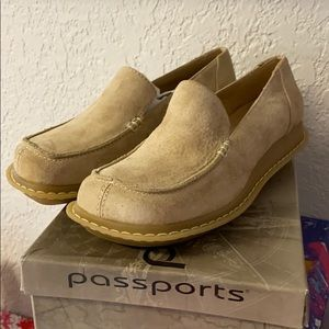 NWT Passports Sand suede leather Flats loafers